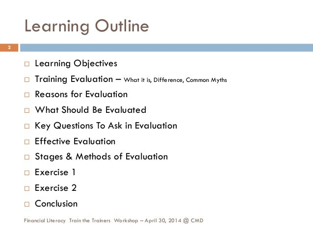 Learning assessment and evaluation Slide 2