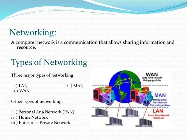 introduction to network types Modern computer networks use several different kinds of cables for short- and long-distance communication including ethernet and fiber optic types.