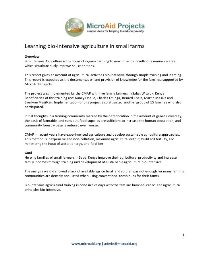 Learning bio-intensive agriculture in small farmsOverviewBio-intensive Agriculture is the focus of organic farming to maxi...