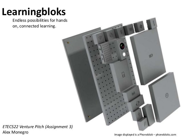 Learningbloks Endless possibilities for hands on, connected learning.  ETEC522 Venture Pitch (Assignment 3) Alex Monegro  ...