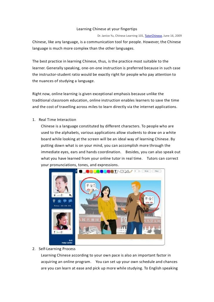 Learning Chinese at your fingertips                                        Dr. Janice Yu, Chinese Learning 101, TutorChine...