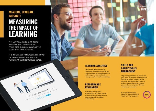 SKILLS AND COMPETENCIES MANAGEMENT LEARNING ANALYTICS PERFORMANCE EVALUATION MEASURE, EVALUATE, IMPROVE/ MEASURING THE IMP...