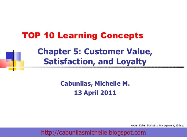 TOP 10 Learning Concepts  Chapter 5: Customer Value, Satisfaction, and Loyalty Cabunilas, Michelle M. 13 April 2011 http:/...