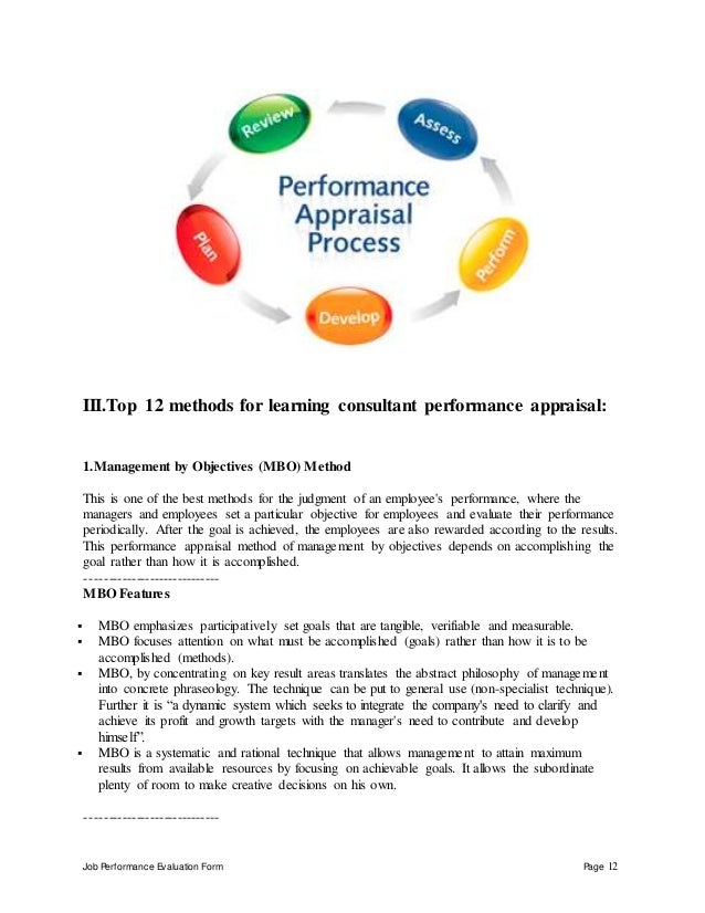 Job Performance Evaluation Form Page 12 III.Top 12 methods for learning consultant performance appraisal: 1.Management by ...