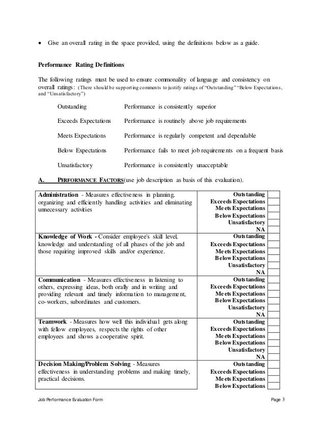 Job Performance Evaluation Form Page 3  Give an overall rating in the space provided, using the definitions below as a gu...