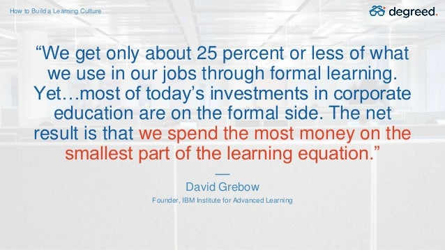 """How to Build a Learning Culture David Grebow Founder, IBM Institute for Advanced Learning """"We get only about 25 percent or..."""