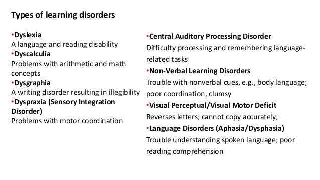 Learning disorder for Visual motor processing disorder