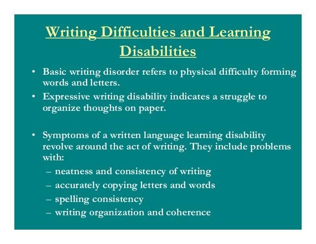 writing disorder symptoms