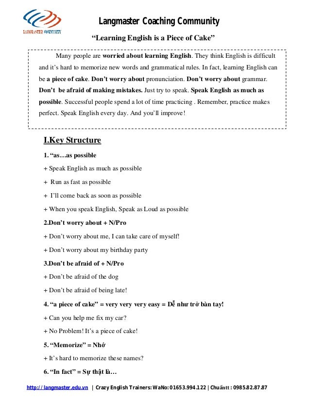 http://langmaster.edu.vn   Crazy English Trainers: WaNo: 01653.994.122   Chuẩntt : 0985.82.87.87 Langmaster Coaching Commu...