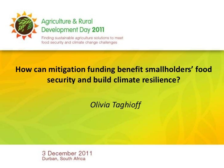 How can mitigation funding benefit smallholders' food       security and build climate resilience?                    Oliv...