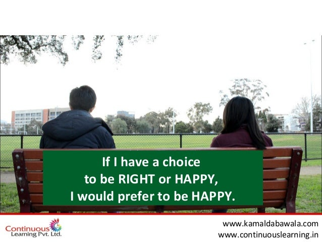 wwww.kamaldabawala.com www.continuouslearning.in If I have a choice to be RIGHT or HAPPY, I would prefer to be HAPPY.