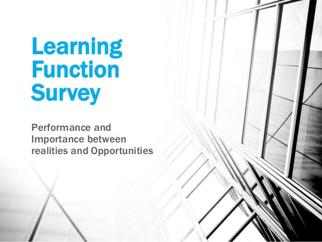 Learning Function Survey Performance and Importance between realities and Opportunities