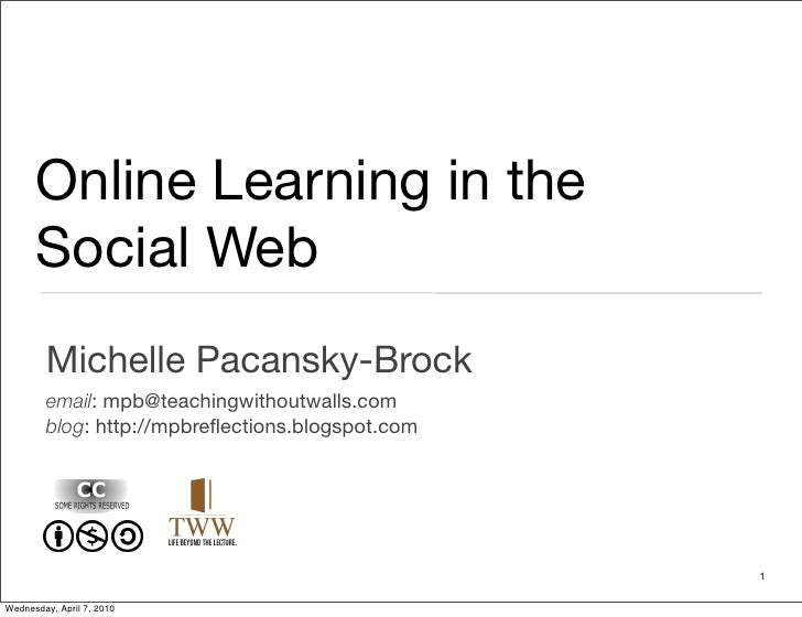 Online Learning in the       Social Web         Michelle Pacansky-Brock         email: mpb@teachingwithoutwalls.com       ...