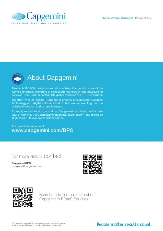 The information contained in this document is proprietary. ©2015 Capgemini. All rights reserved. Rightshore® is a trademar...