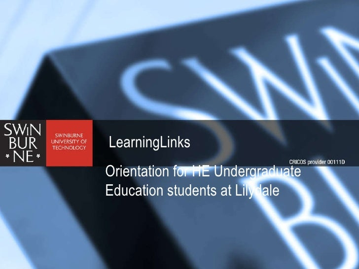 LearningLinks Orientation for HE Undergraduate Education students at Lilydale