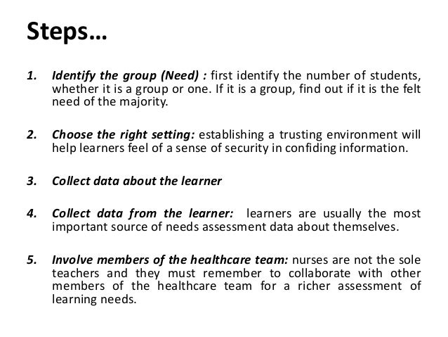 needs of learner Addressing the needs of adult learners american association of state colleges and universities volume 3 u number 2 u february 2006 in today's workplace, lifelong learning has become a fact.