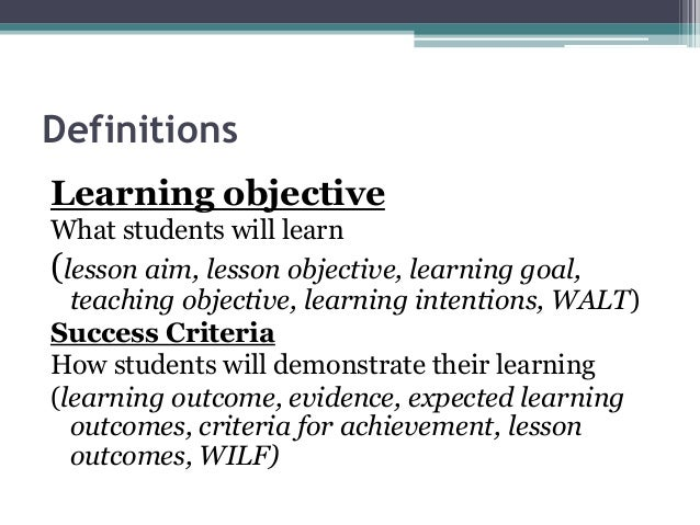 Learning objectives & success criteria inset