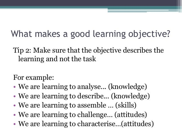 what makes a good learning objective