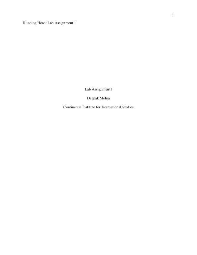 1 Running Head: Lab Assignment 1 Lab Assignment1 Deepak Mehra Continental Institute for International Studies