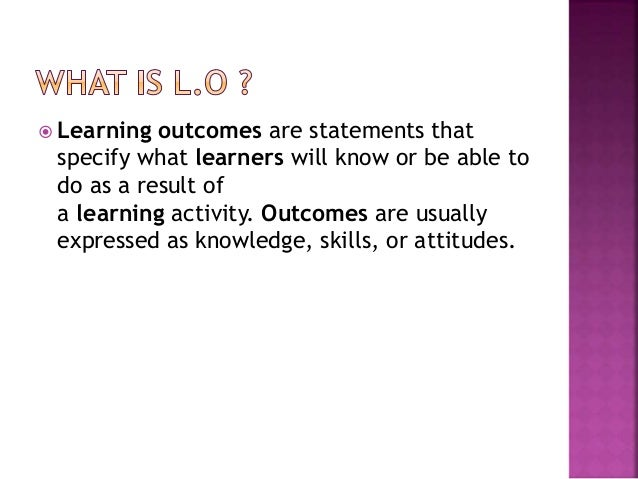 Learning outcomes Slide 2