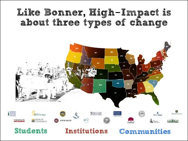 Like Bonner, High-Impact is about three types of change  Students  Institutions  Communities