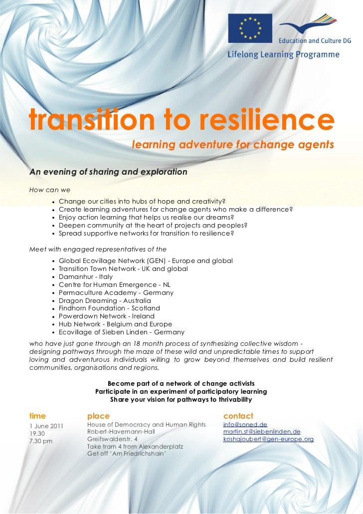 transition to resilience                                learning adventure for change agentsAn evening of sharing and expl...