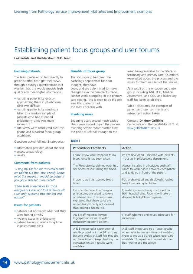 Learning from the pathology service improvement sites