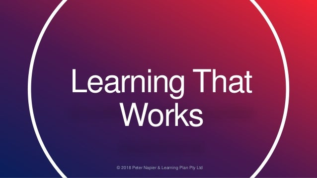 Learning That Works © 2018 Peter Napier & Learning Plan Pty Ltd