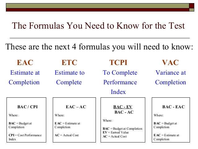 Download Estimate At Completion Eac Formula Gantt Chart