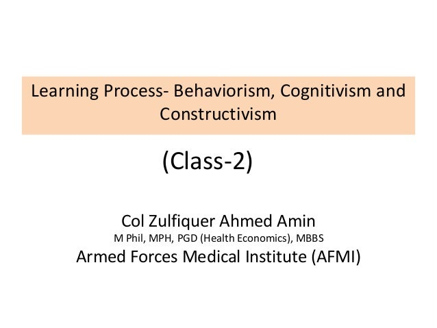 behaviorism cognitivism and constructivism learning theories