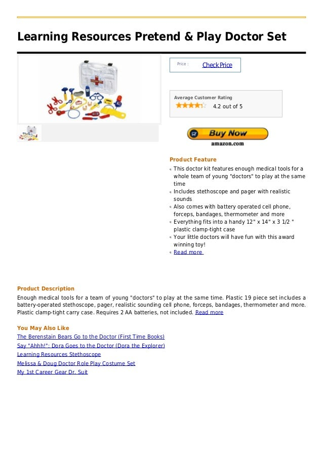 Learning Resources Pretend & Play Doctor Set                                                                Price :       ...