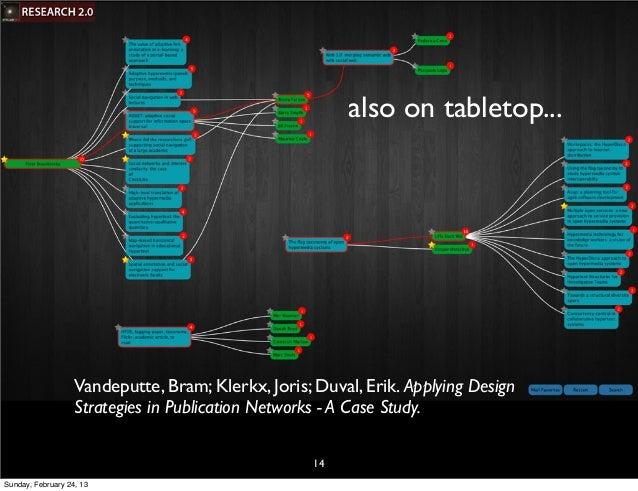also on tabletop...                   Vandeputte, Bram; Klerkx, Joris; Duval, Erik. Applying Design                   Stra...