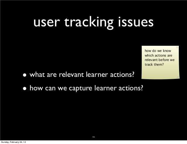 user tracking issues                                                           how do we know                             ...