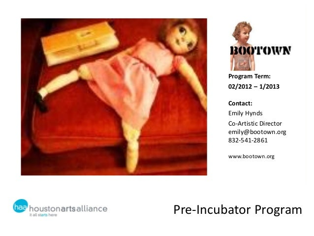 Program Term:        02/2012 – 1/2013        Contact:        Emily Hynds        Co-Artistic Director        emily@bootown....