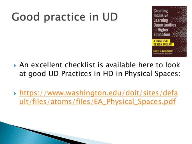  An excellent checklist is available here to look at good examining how inclusive a campus is:  https://www.washington.e...