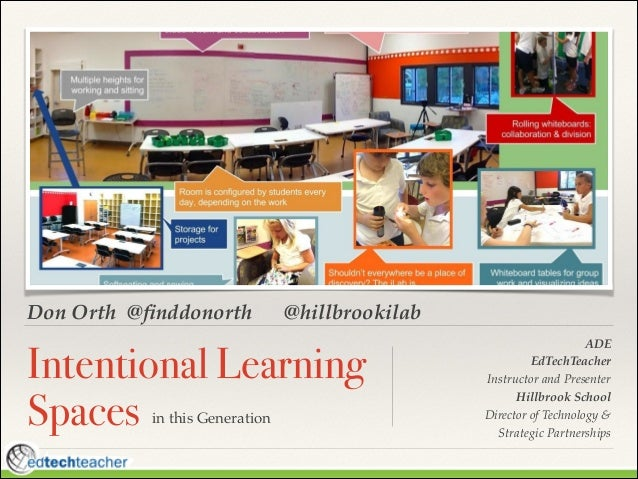 Don Orth @finddonorth  @hillbrookilab  Intentional Learning Spaces in this Generation  ! !  ADE! EdTechTeacher ! Instructor...