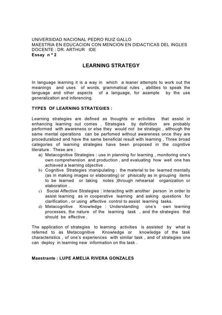 Essay about learning statigies