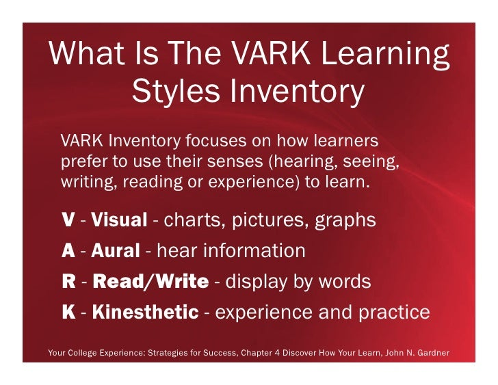 vark learning style assessment Vark learning styles assessment  after completing the vark assessment,  with my learning style excelling in reading and writing,.