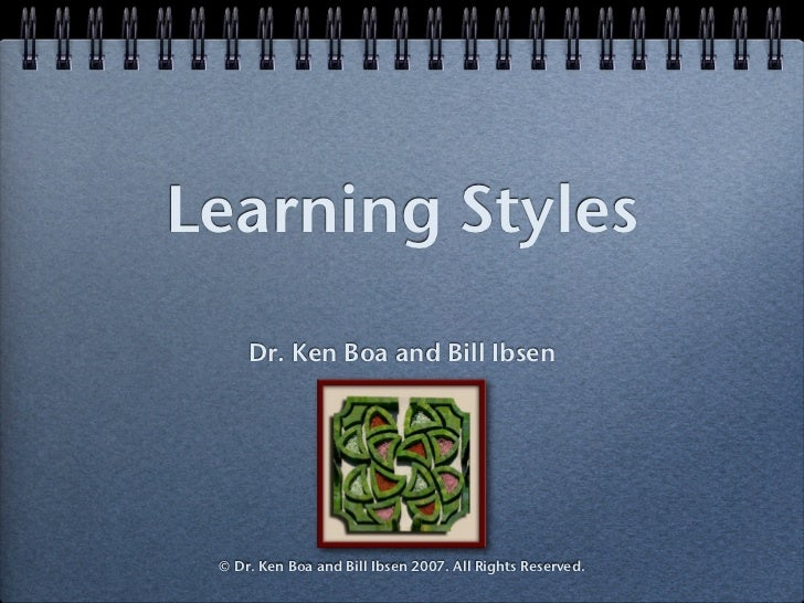 Learning Styles     Dr. Ken Boa and Bill Ibsen © Dr. Ken Boa and Bill Ibsen 2007. All Rights Reserved.