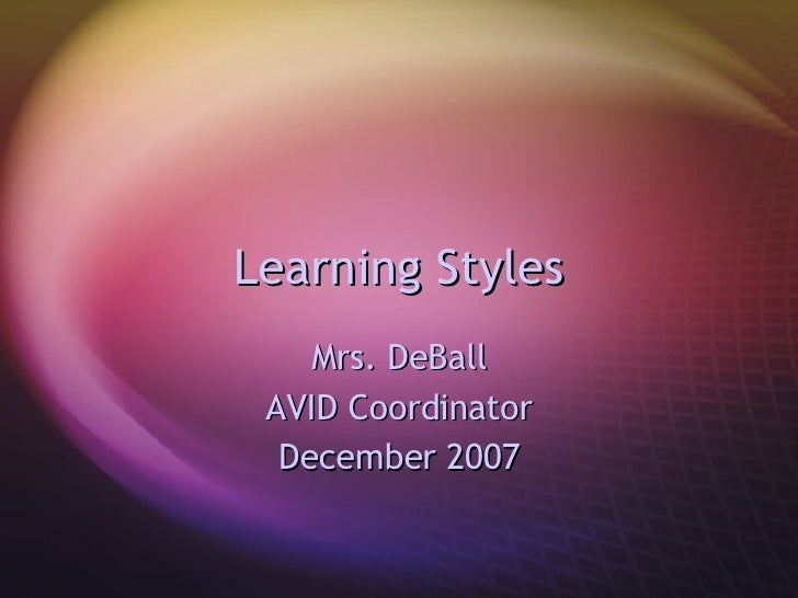 Learning Styles Mrs. DeBall AVID Coordinator December 2007