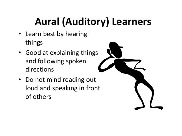 an aural learner What characteristics does an aural learner have that differ from other styles this lesson answers this question and provides tips for how to give.