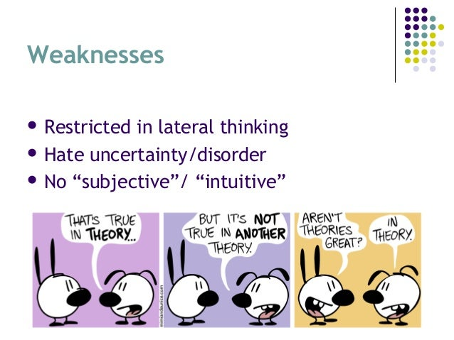 """Weaknesses  Restricted in lateral thinking  Hate uncertainty/disorder  No """"subjective""""/ """"intuitive"""""""