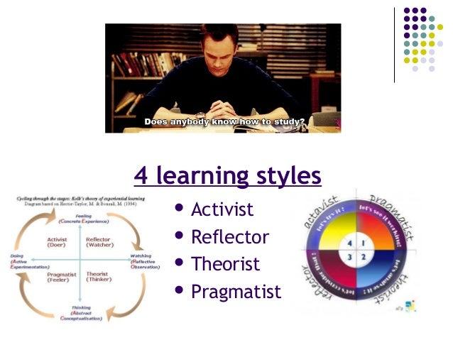 4 learning styles  Activist  Reflector  Theorist  Pragmatist