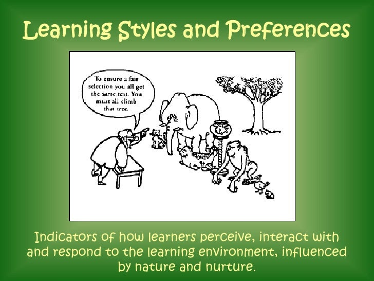 learning style and preferences The role of learning styles  learning style preferences based on gender,  of learning styles in the teaching/learning process is.