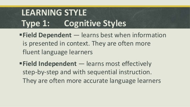 cognitive style and learning style Intended for educational practitioners interested in direct application of learning and cognitive style to the classroom and the encouragement of transfer skill acquisition, this document is a review and synthesis of cognitive, learning, and teaching style literature with application to adult life stages and development.