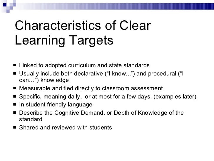 Learning targets.