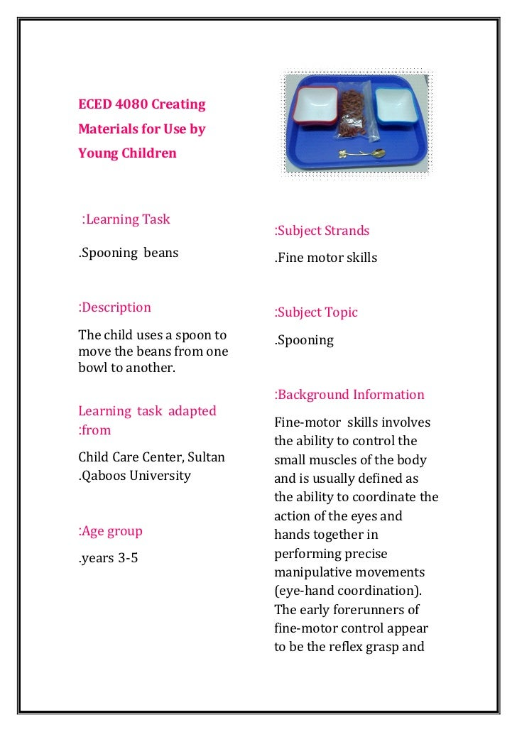 ECED 4080 CreatingMaterials for Use byYoung Children:Learning Task                            :Subject Strands.Spooning be...
