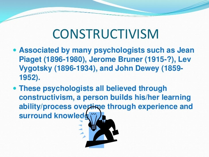 constructivism learning theory In constructivism, learning occurs through experiencing the world this 20th-century theory is built on the work of psychologist jean piaget, who believed that children build their own knowledge through play and their experiences constructivism also takes cues from psychologist lev vygotsky and his.