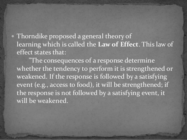 thorndikes theory of learning was called