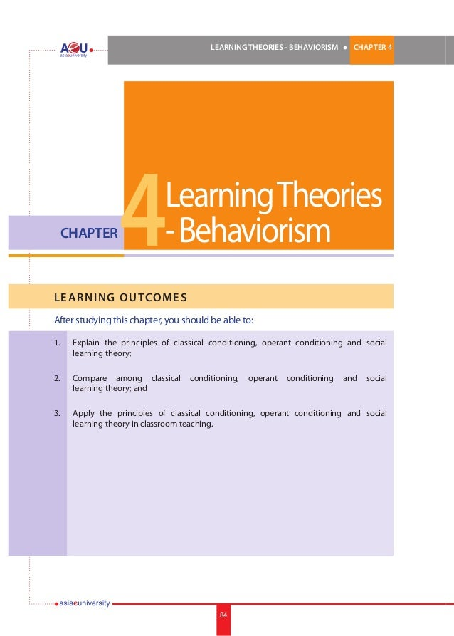 LEARNING THEORIES - BEHAVIORISM  CHAPTER  l  CHAPTER 4  4  Learning Theories - Behaviorism  LE ARNI NG OUTCOMES After stud...
